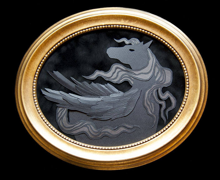 "PEGASUS Hand Cut Paper & Vellum  Dimensions: 12.5"" x 10.5"" (Framed)"