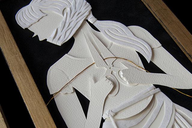 THE FATES: DETAIL OF ATROPOS Hand Cut Paper, Vellum, Metallic Cord