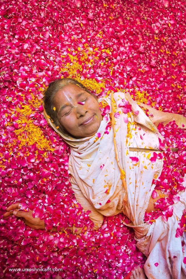A Vrindavan widow lies happily in pool of petals in a 'Holi' organised by Sulabh International a Delhi based NGO specially for the widows. They had traditionally be deprived of celebrations till 2013