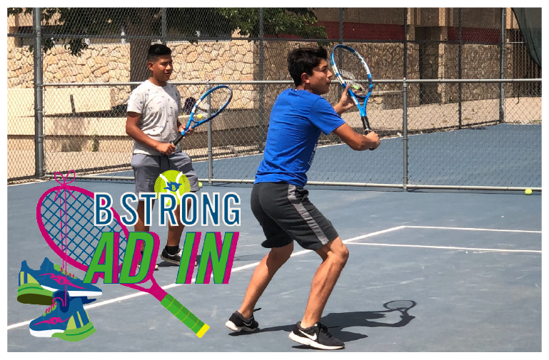 B STRONG Ad In - Providing rackets, lessons, and other support to help high school tennis teams B THE BEST.
