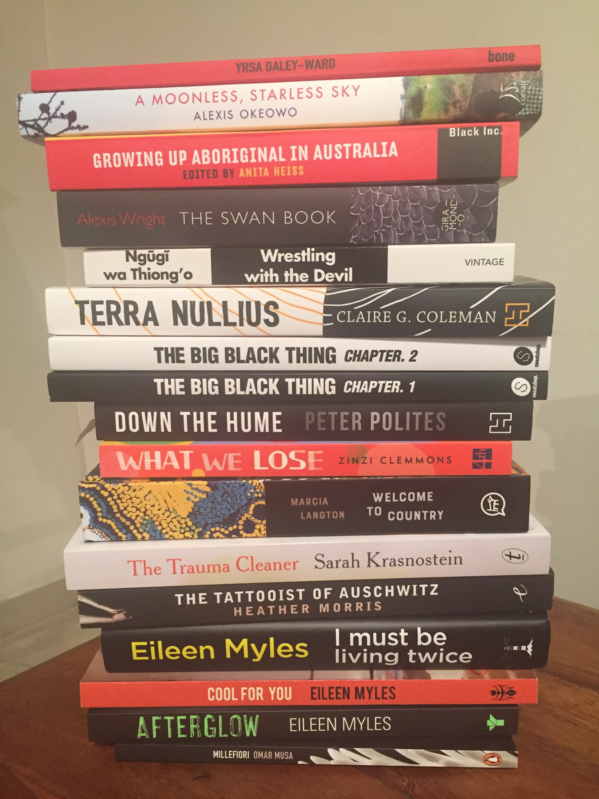 My signed book pile by the end of the festival. I predict this will be my next year of reading.