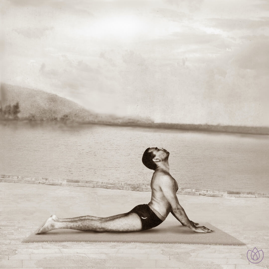 Step 7: Cobra pose (Bhujangasana) - Inhale. Press your hips to the floor and slide your body forward and up, rising your chest up. Look upwards.Your elbows should be bent keeping them close to the body and roll the shoulders down and back away from the ears. Keep the legs on the ground. Focus on relaxing the spine.