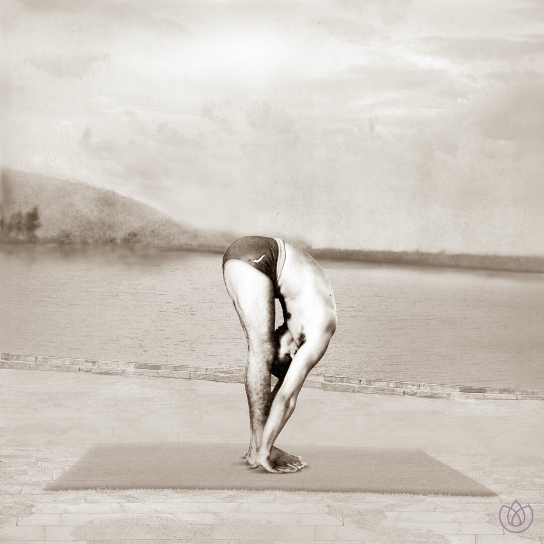 Step 10: Standing Forward Bend (Padahastasana) - Exhale. Bring the left foot forward. Keep the palms on the floor. You may bend the knees, if necessary.
