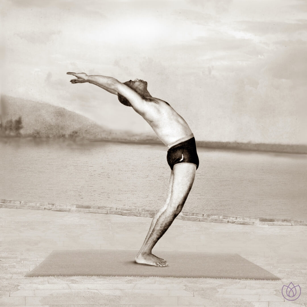 Step 11: Raised Arms Pose (Hasta Uttanasana) - Inhale. Reach the arms forward and up. Align the arms with the ears and lift the torso.Reach the arms toward the sky, arch the back, and push the hips forward. Bring awareness to the stretch in the abdomen.