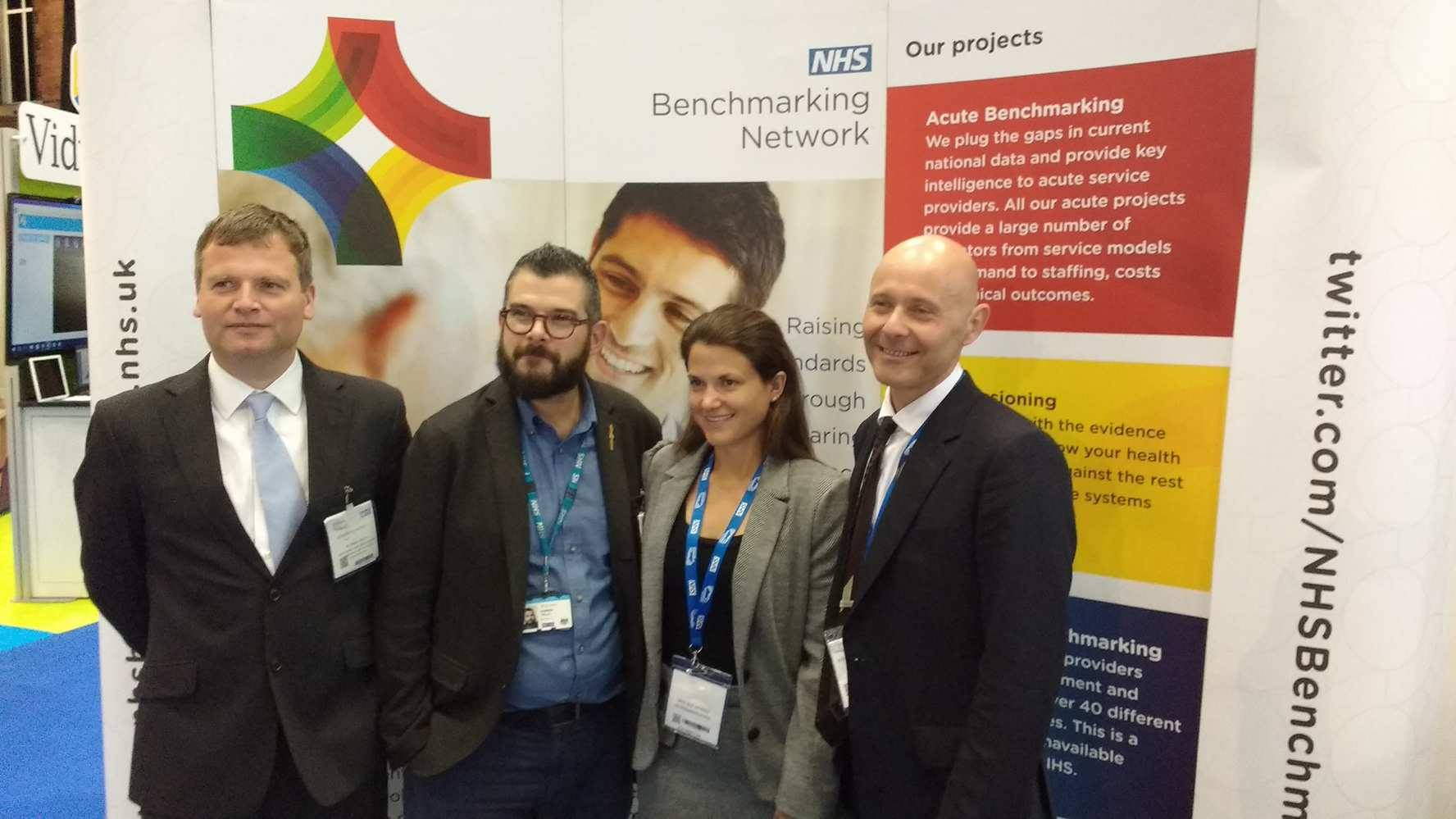 From Left to Right: George Howard (Healthy London Partnership), Darren Vella (Healthy London Partnership), Zoë Morris (NHS Benchmarking Network), Stephen Watkins (NHS Benchmarking Network)