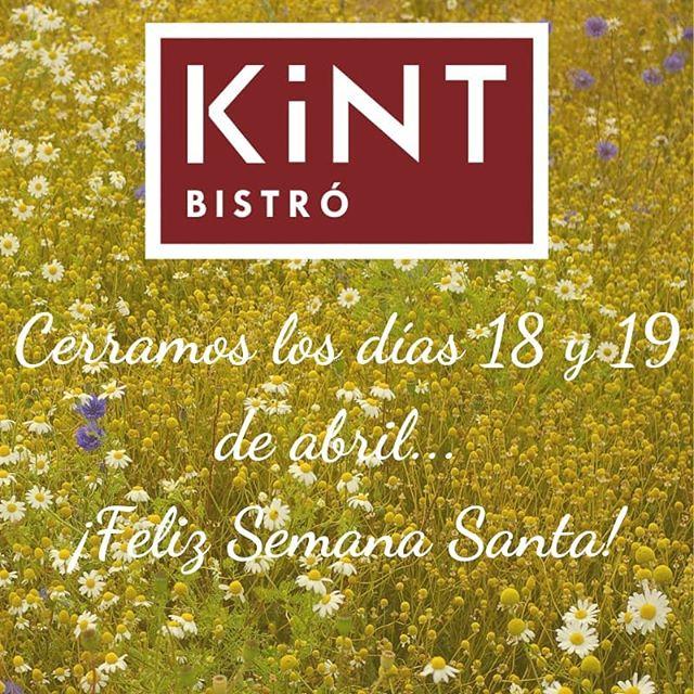 Esta semana Kint abrirá hoy y mañana, sábado y domingo con el horario de siempre... el jueves y el viernes permaneceremos cerrados 🐇🕊🥚
