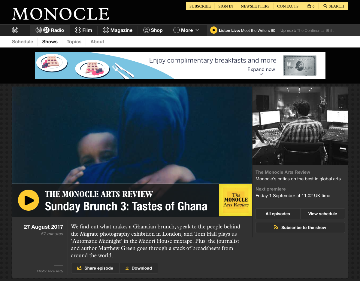 Radio interview by Monocle 24
