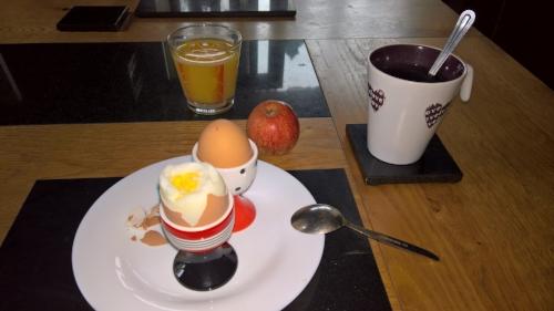 Boiled eggs for breakfast.