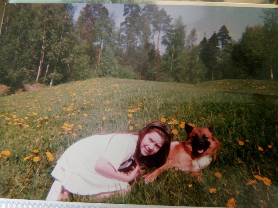 Pamela with her dog Joona - a long, long time ago.