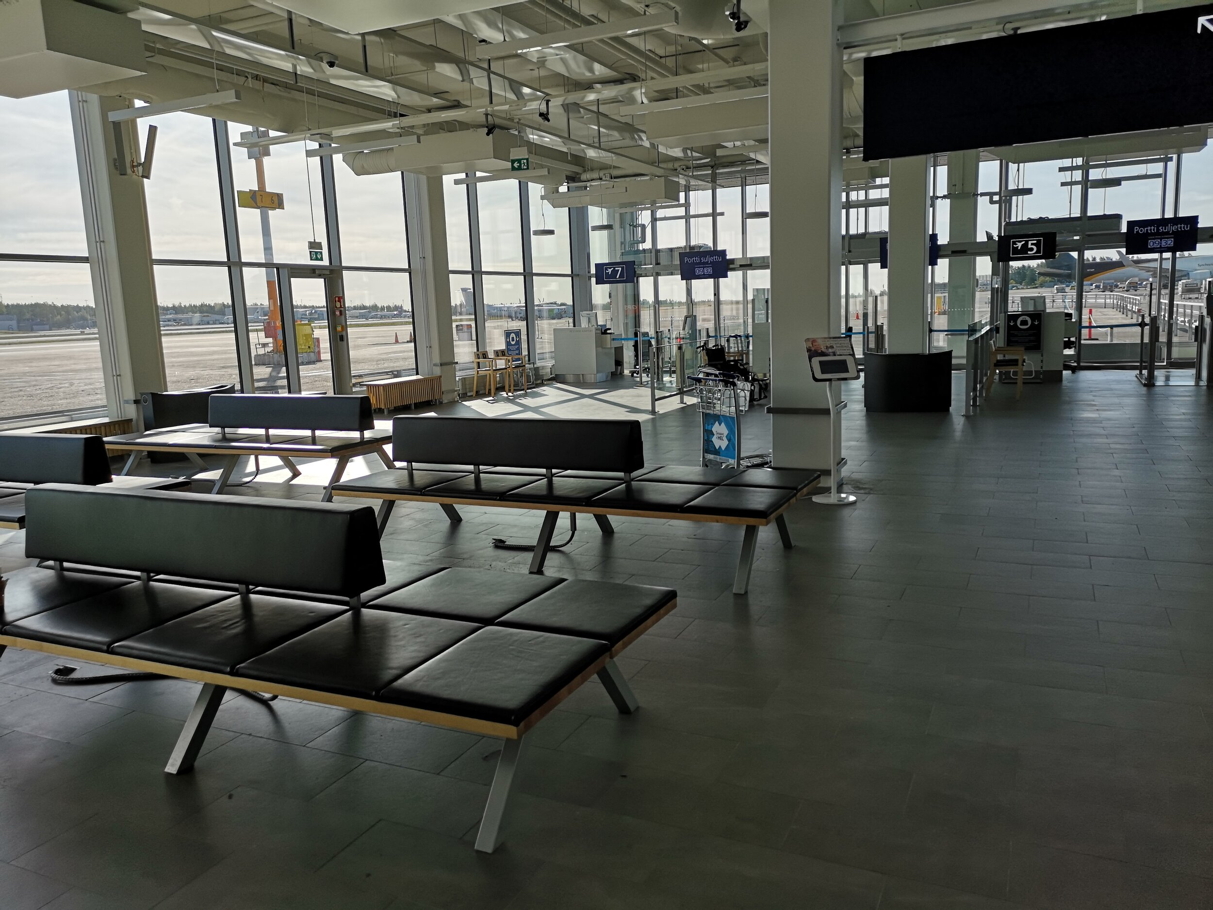 Helsinki airport on a quiet Monday afternoon.