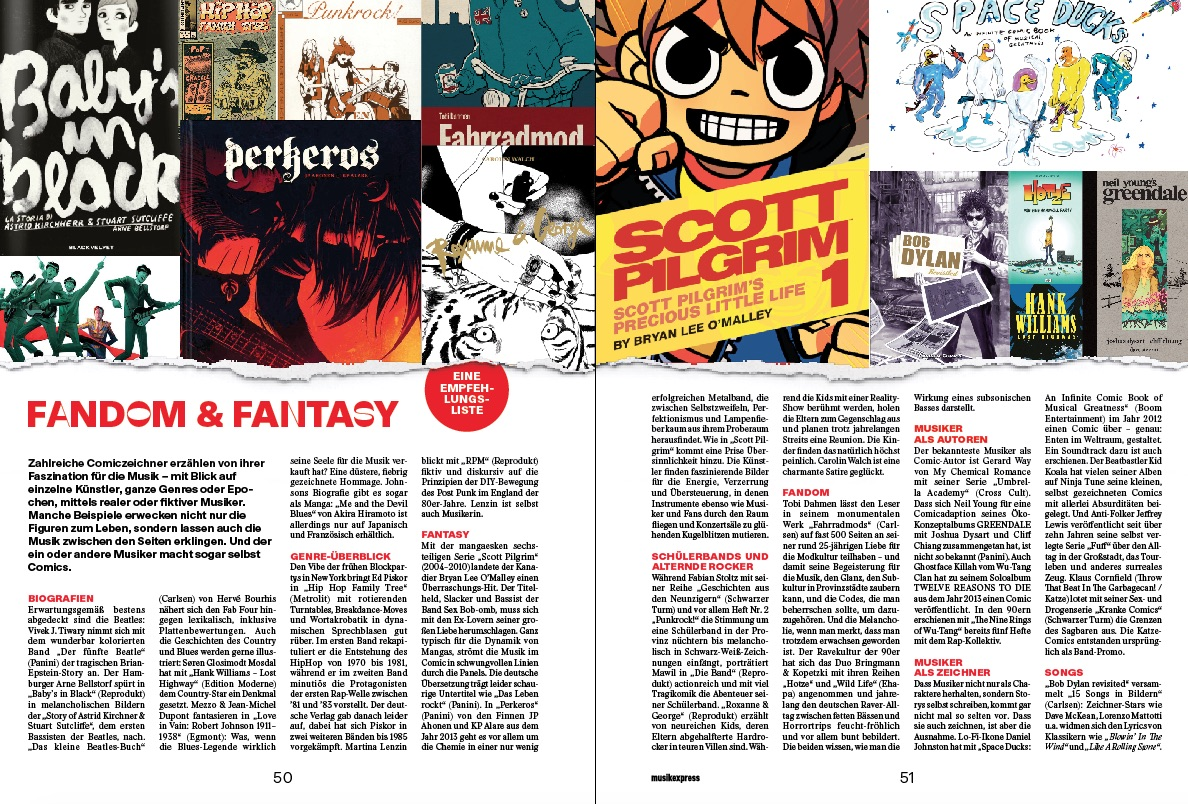 - Article about comics and music in the Musik Express, including Fahrradmod.