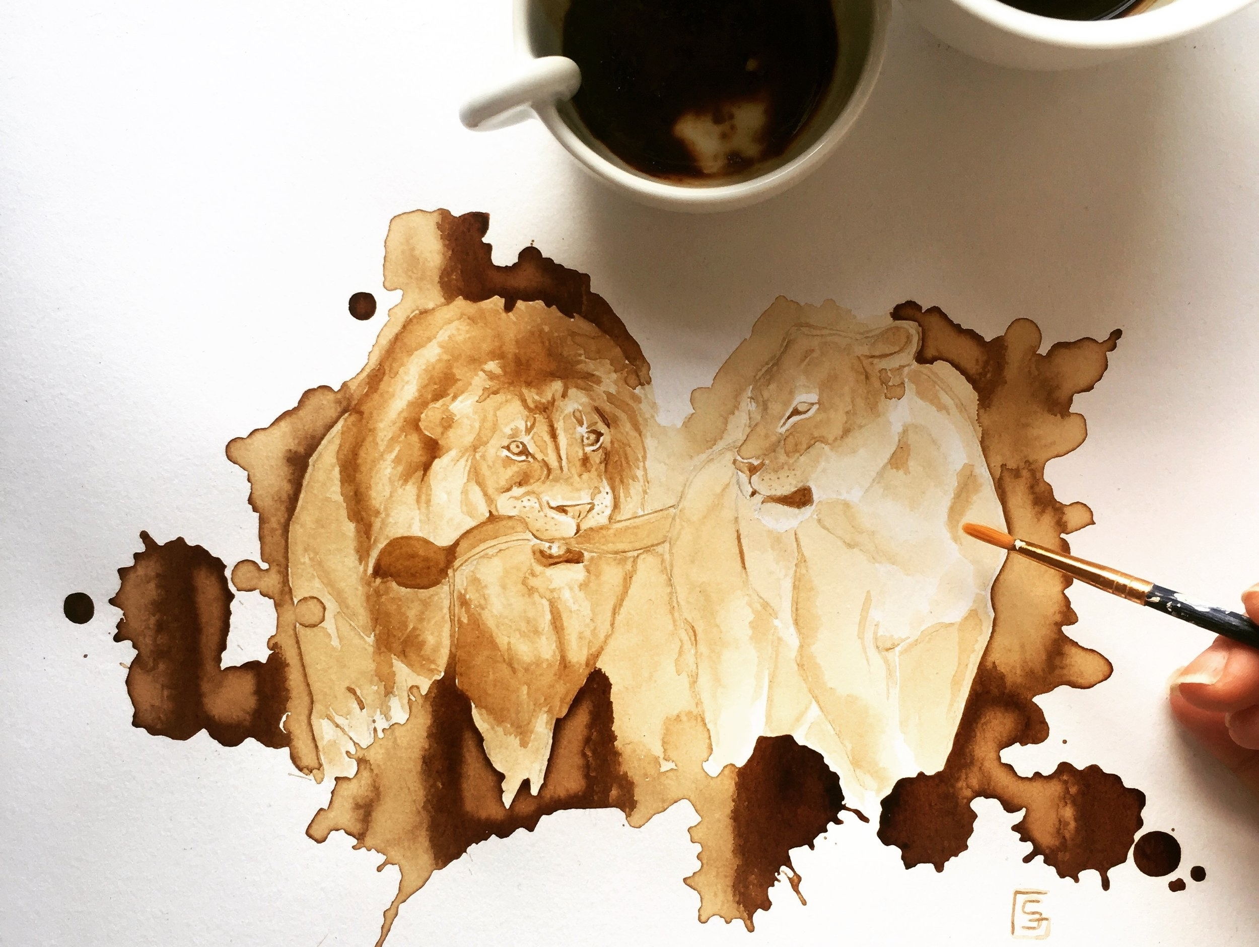 COFFEE ART PAINTING - Paintings made with eco-friendly, toxic-free sustainable art materials, raising awareness about the current status of endangered species.