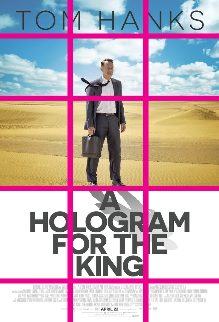 The design splits the elements of the image into 5 horizontal sections. 3 primary sections for the sky, sand, and movie title. The top section for the name of the star, Tom Hanks. The bottom section for the film credits. Hank's is featured slightly off center juxtaposed in the positive/negative space. He is depicted in the clouds from the chest to head, while the lower half in the sand. His shadow drifting into the title of the film like a hologram.