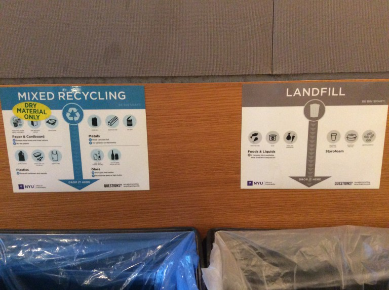 The purpose of this sign is to distinguish between items that are for the landfill and for the recyclables. The task of sorting our trash is improving with these bins. The signs are informative and list detailed examples of the items that should be discarded in each bin. From the looks inside of the bin, these signs were ignored and refuse was found in the recycle bin and recyclable items were found in the landfill bin. It seems as though the signs' listed information has a good intention to inform us of the items that belong, yet in the moment of discarding trash, their purpose has been simply ignored.