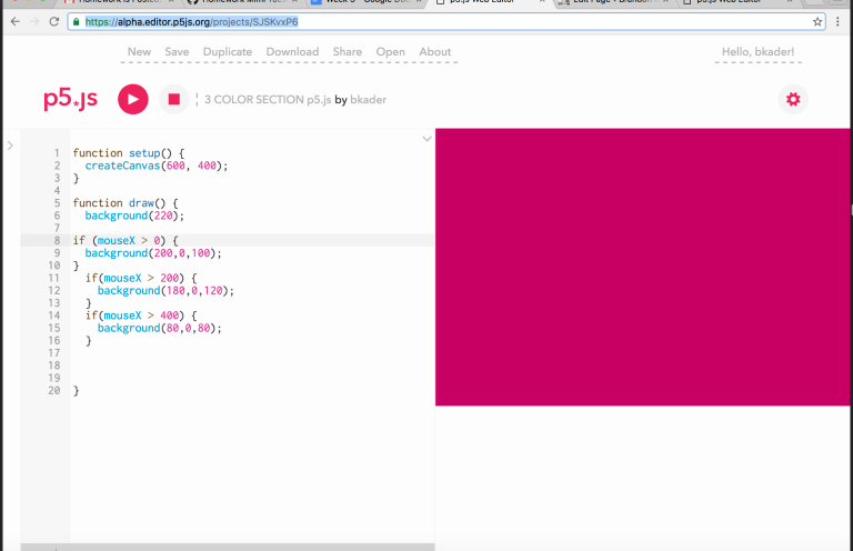 3 SECTIONS OF COLOR CHANGE  https://alpha.editor.p5js.org/projects/SJSKvxP6