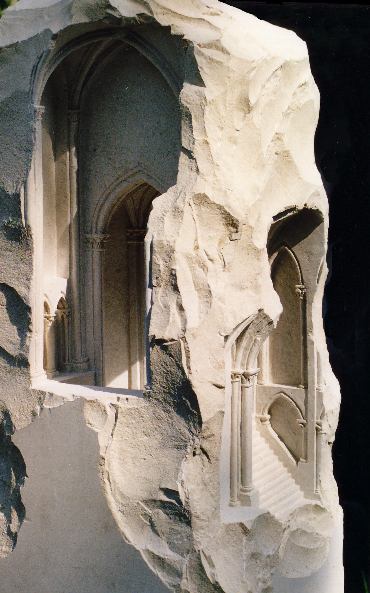 I appreciate the way the sculptor cut away at the rock to eliminate the unnecessary amount of stone so that the architecture can be distinguished.
