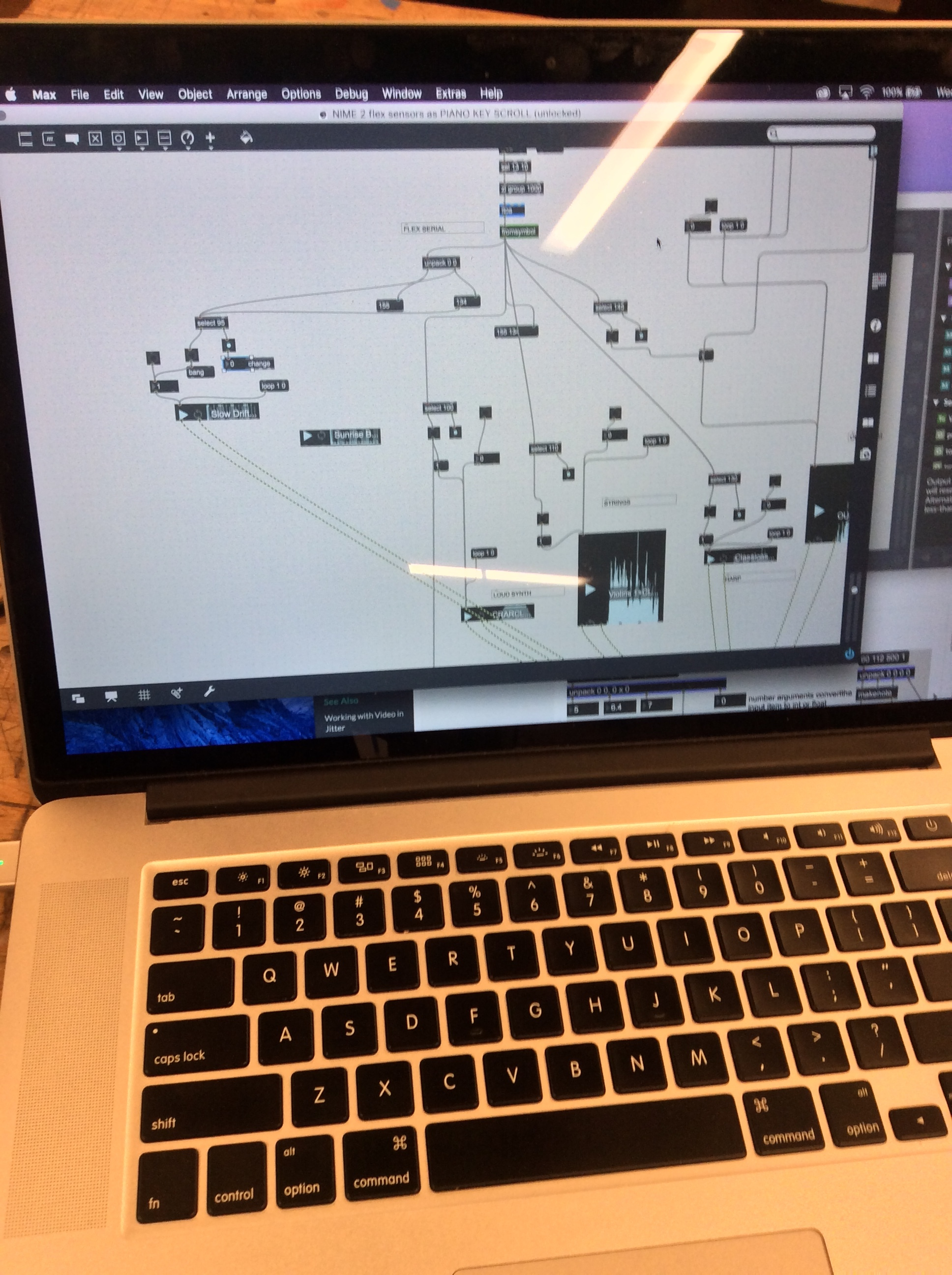 MAX/MSP PATCH reading serial values to launch sounds