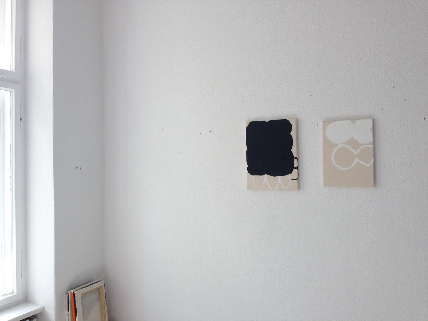 Left:  Untitled , 2016 oil-stick and acrylic spray-paint on raw cotton canvas 35 x 24 cm ( H x W cm) 13.77 x 9.44 inches  Available for purchase   Right:  Untitled , 2017 oil-stick on raw cotton canvas 35 x 25 cm (H x W cm) 13.77 x 9.84 inches  Available for purchase