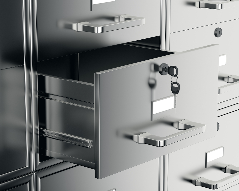 a file cabinet with locks