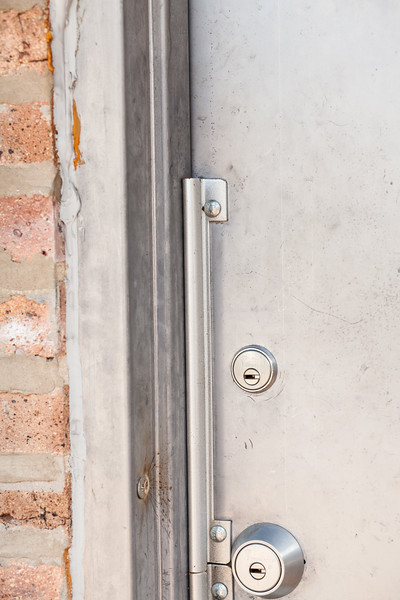 large lock on commercial door