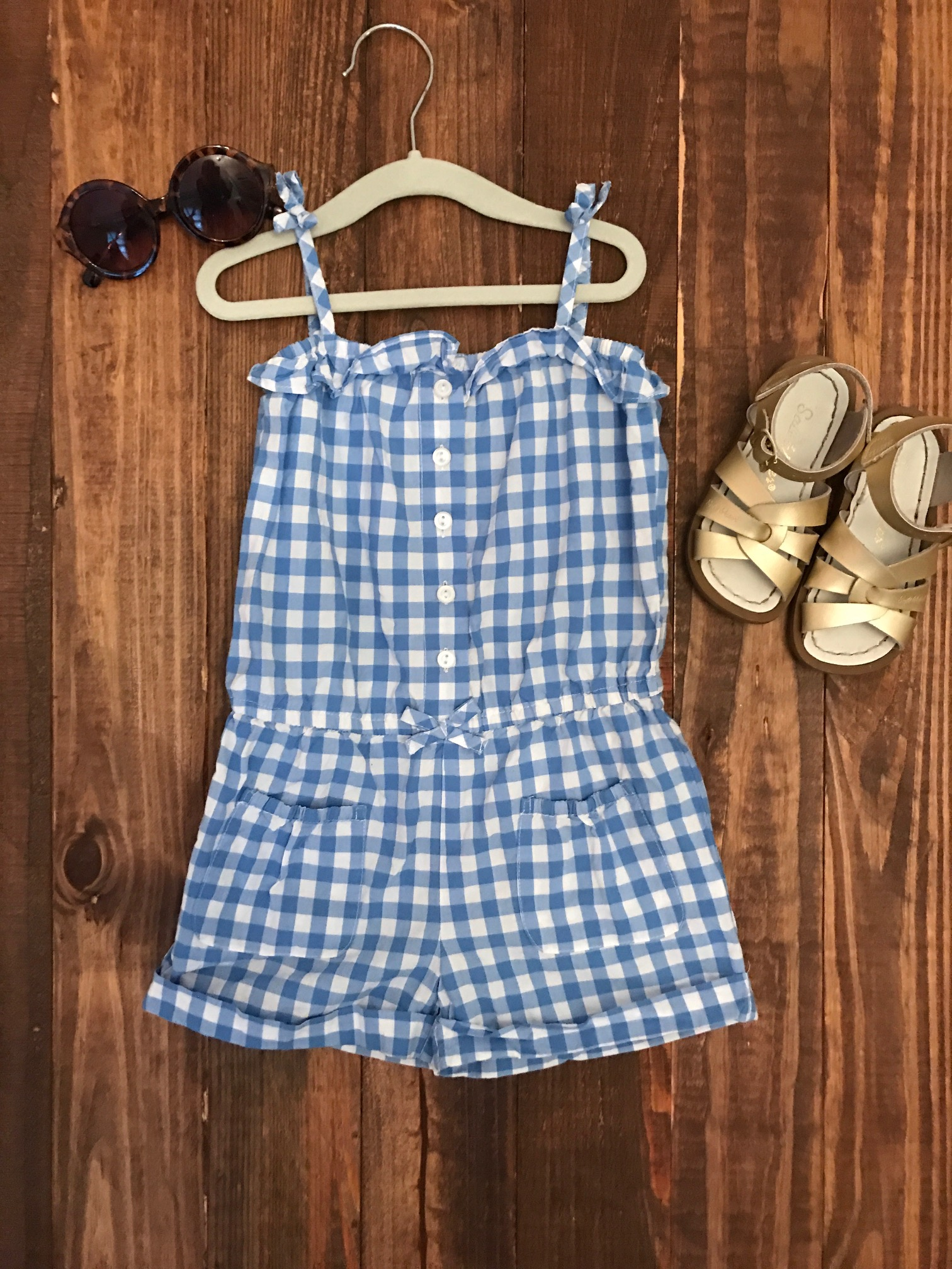 Baby Gap romper, Salt Water Sandals, Crewcuts sunglasses