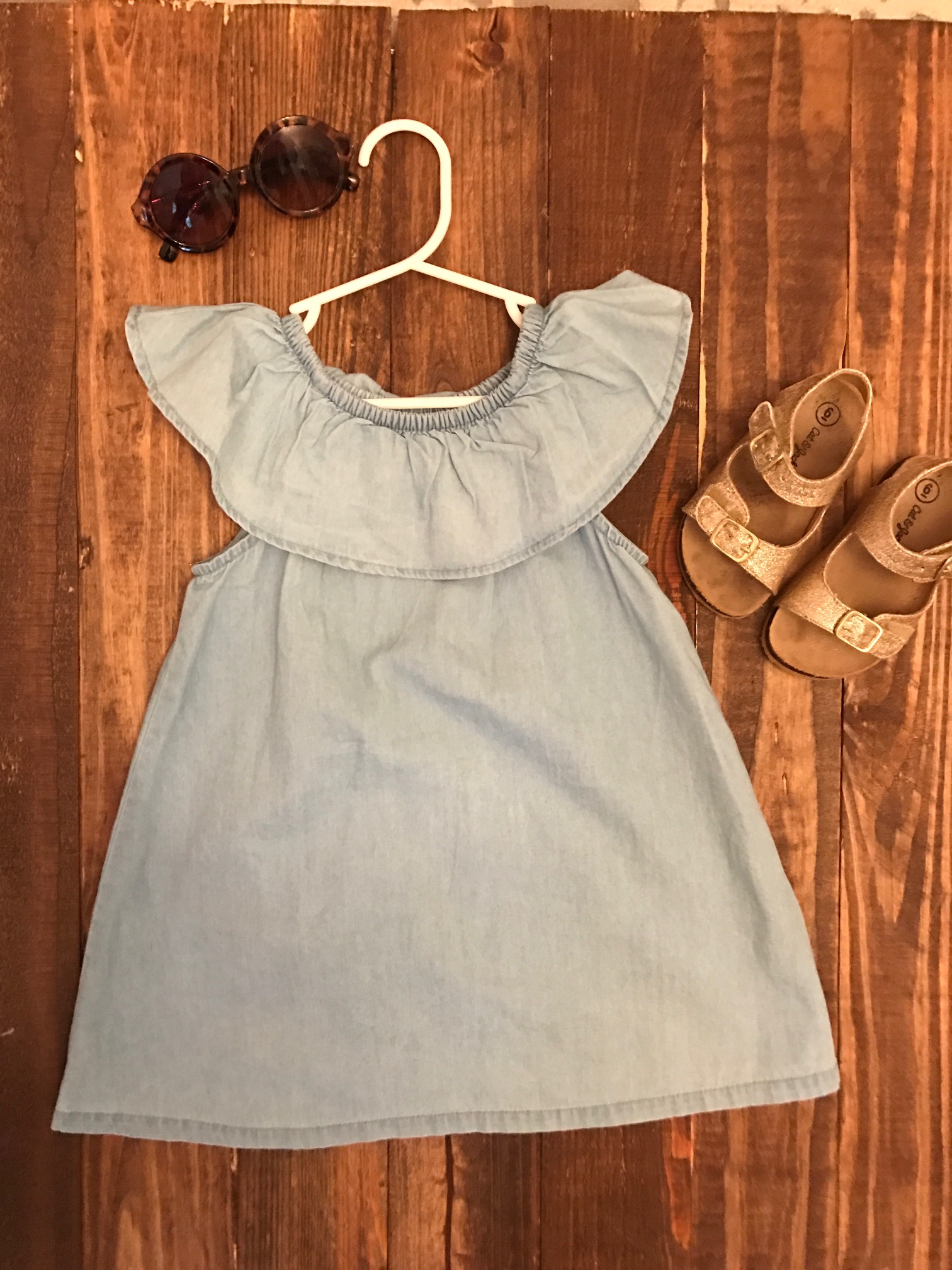 Old Navy dress, Cat & Jack sandals, Crewcuts sunglasses