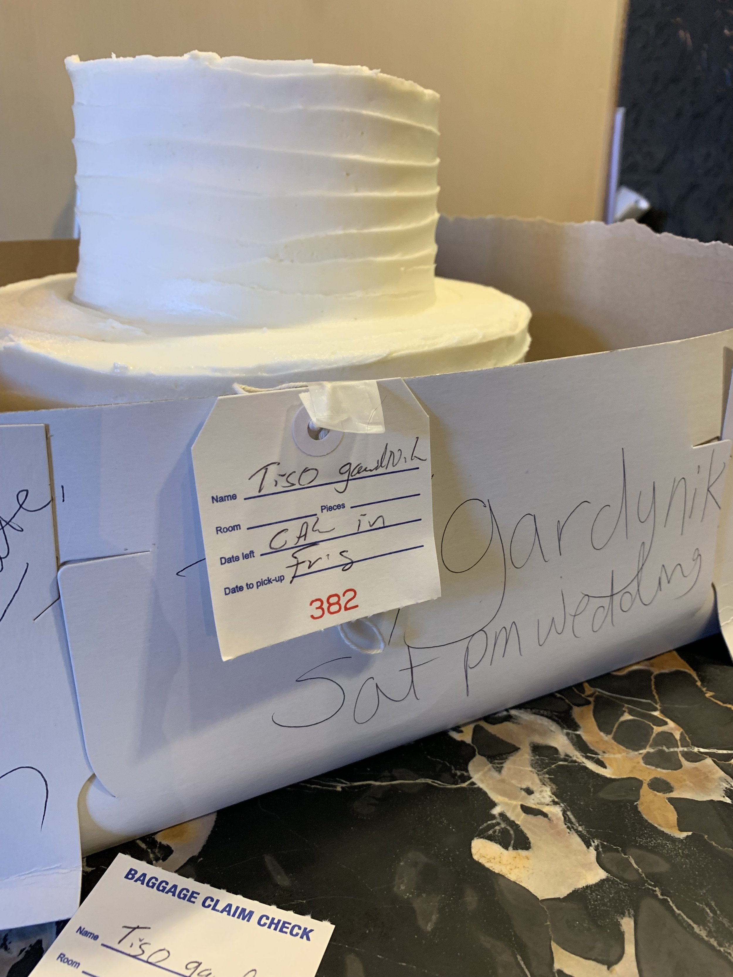 Cake with Baggage Claim ticket