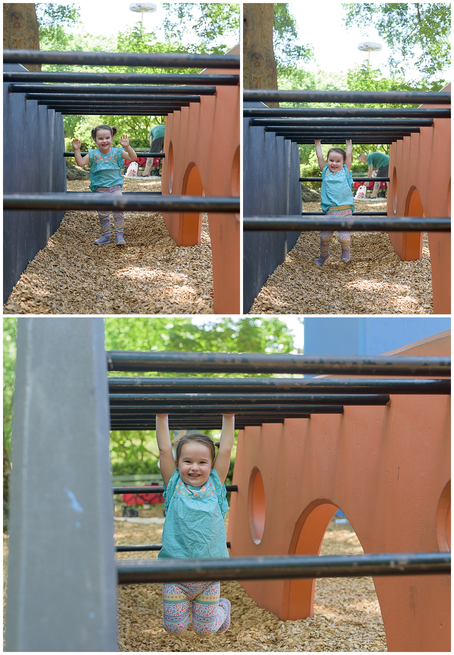 these are images of a toddler playing at a playground at piedmont park in atlanta georgia. she is swinging from the bars and laughing