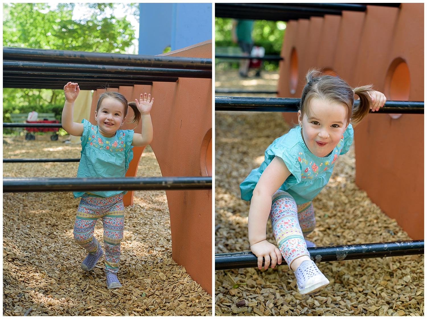 these are images of a toddler playing at a playground at piedmont park in atlanta georgia. she is running around and making silly faces.