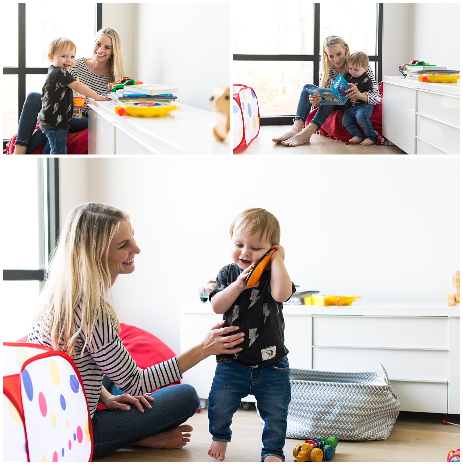 this is a small collage of a few photos of a mother and her toddler son playing in the playroom. they are reading a book and the child is playing on a toy phone.