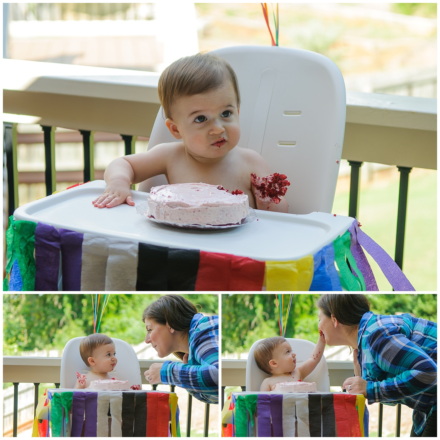 these are images of a one year old at a one year old cake smash birthday party in marietta, georgia. the child is feeding himself and he has cake all over his hands and face.