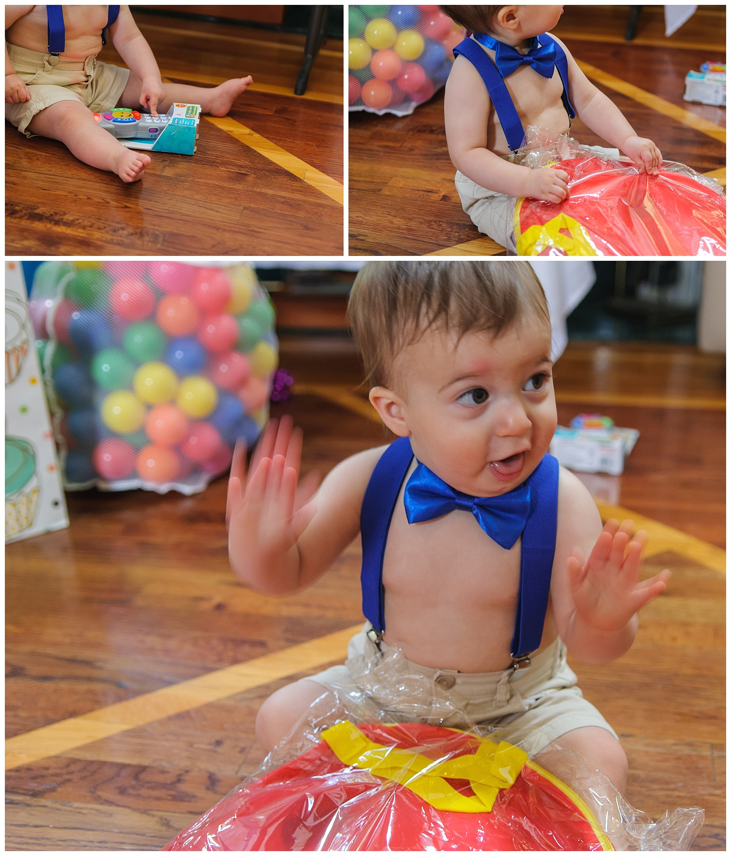 these are images of a one year old child wearing a bow tie and opening presents at his one year old birthday party in marietta, georgia.