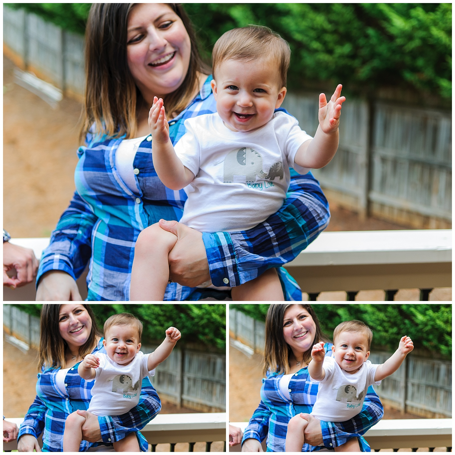 these are images of mom and the child on the balcony singing songs and the child waving his arms in the air and smiling.