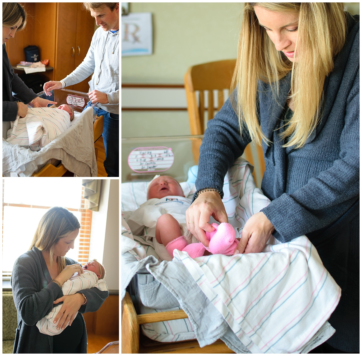these are images of a mother dressing her newborn baby girl in the hospital room during a fresh 48 newborn session