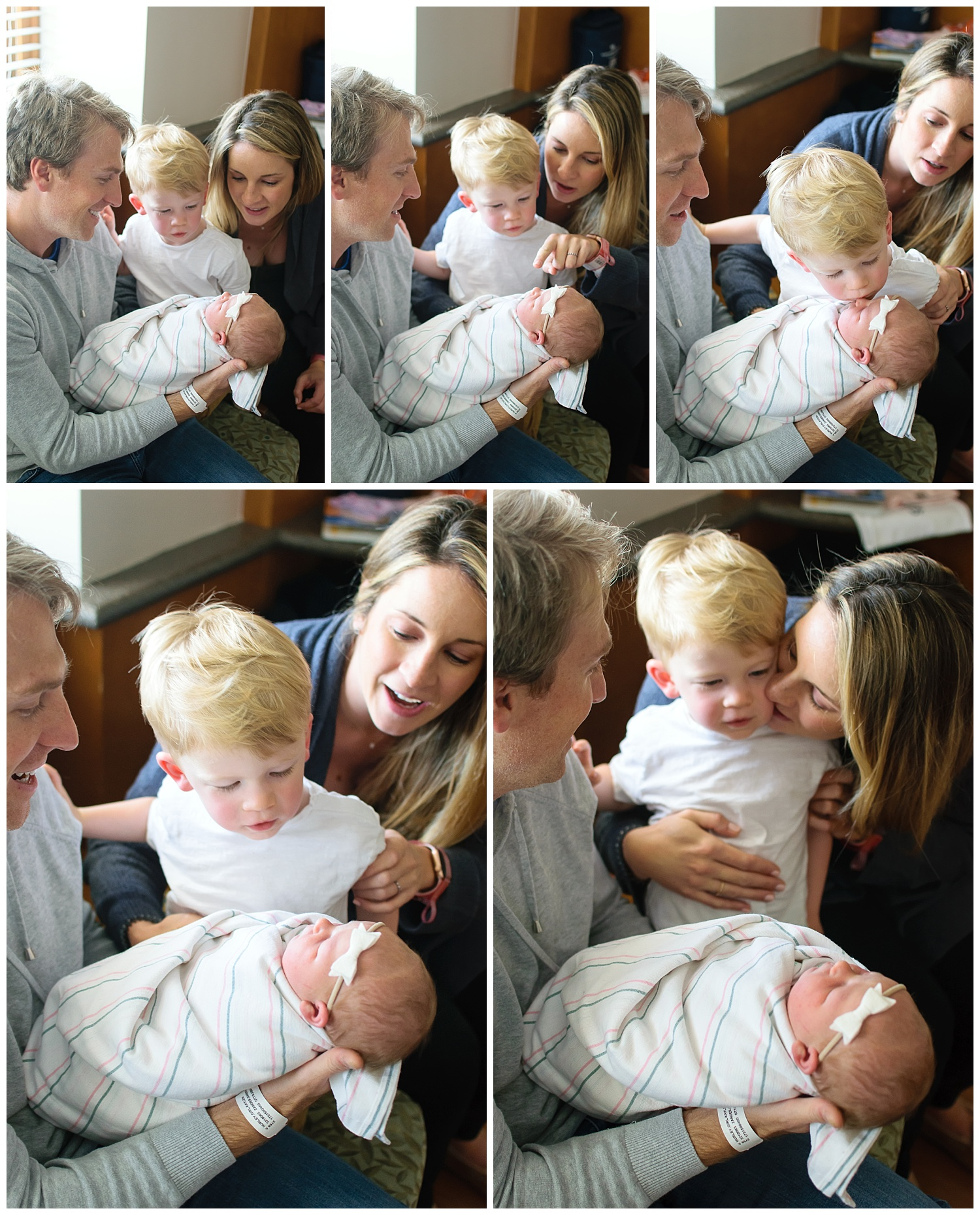 this is a collage of images of a toddler brother kissing his new baby sister in the hospital room in atlanta georgia