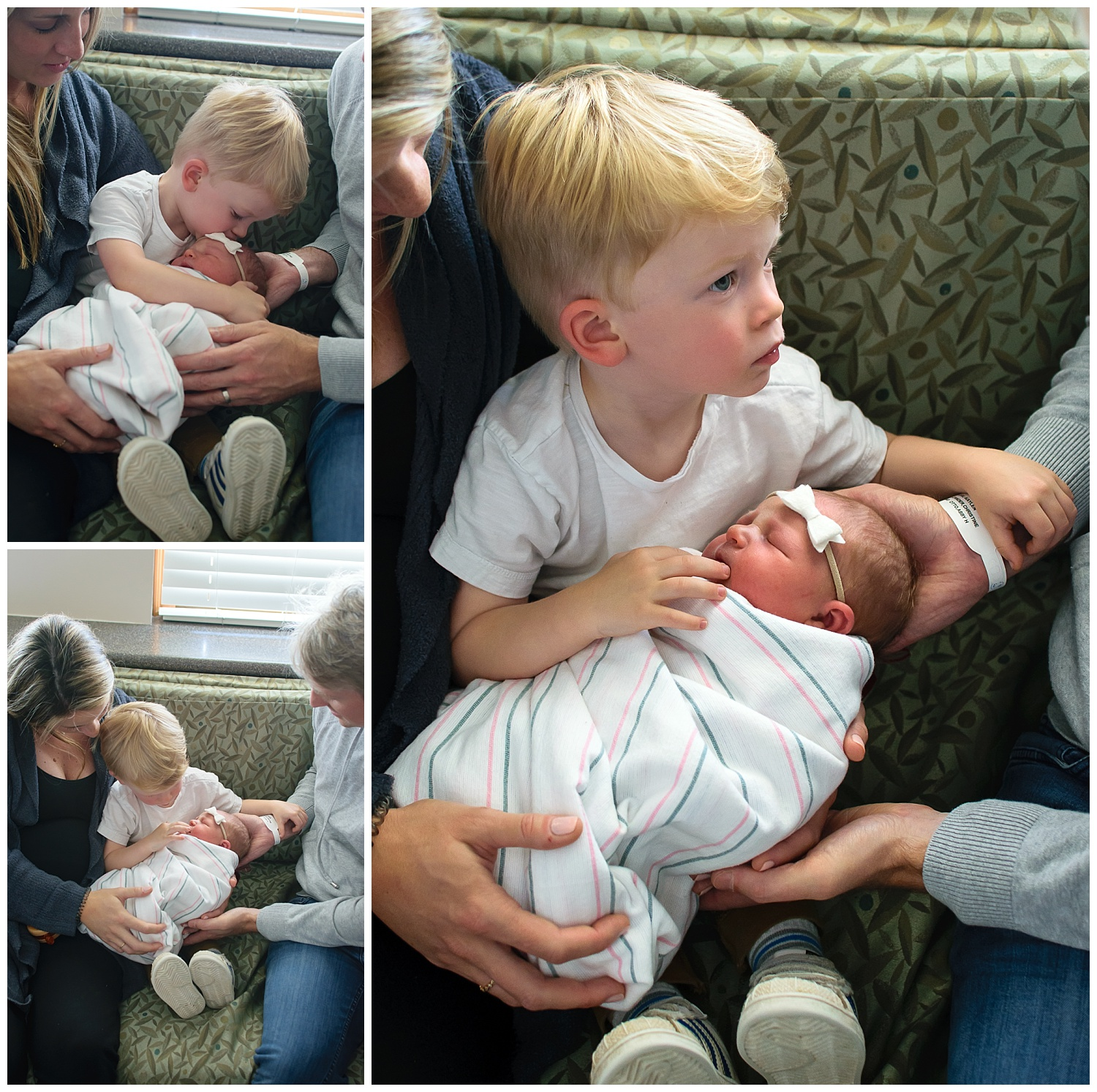these are images of a toddler brother welcoming his new baby sister and holding and kissing her on the face as he holds his baby sister