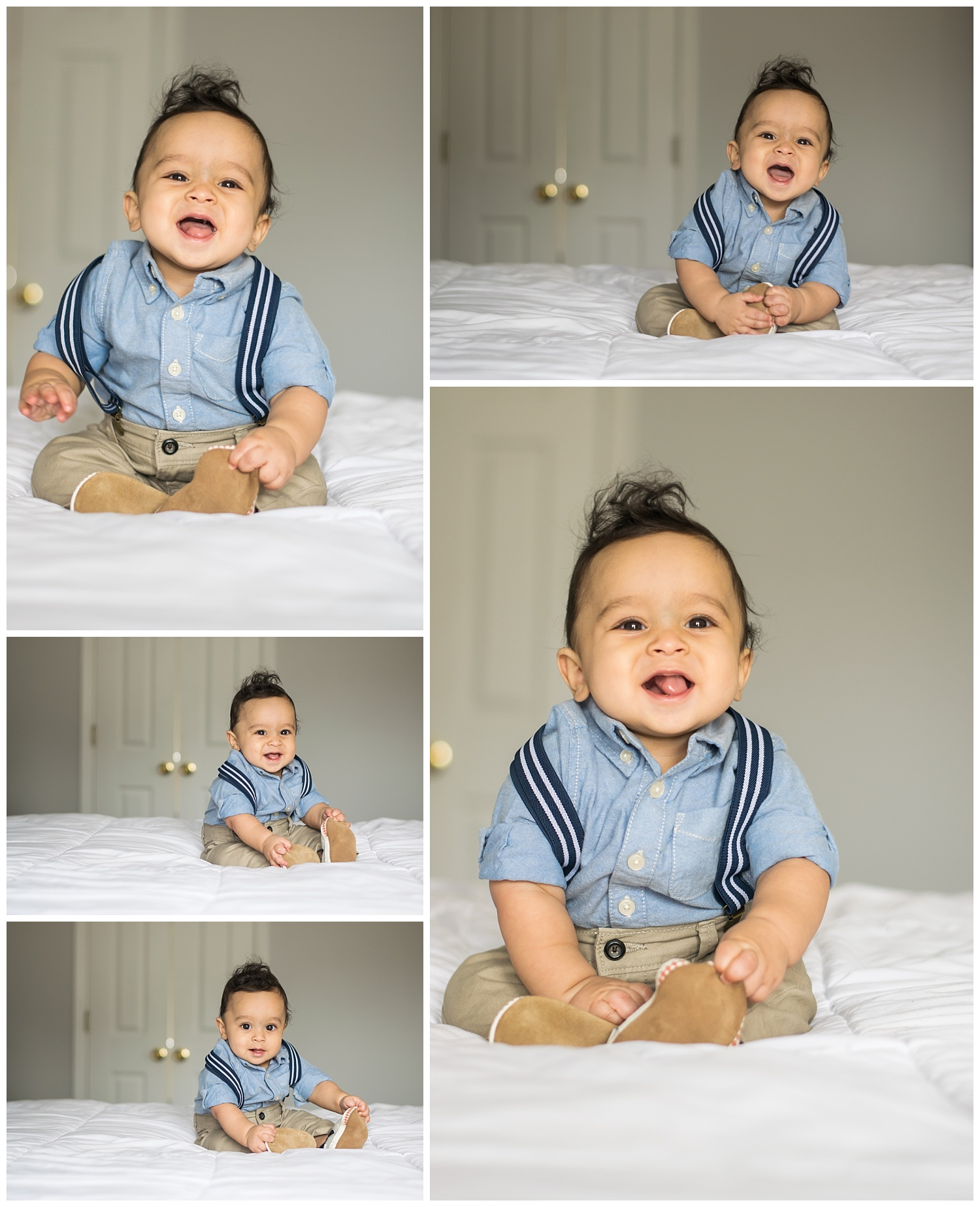 these are a collage of images of a six month old baby boy sitting up on the bed in a suspenders outfit.