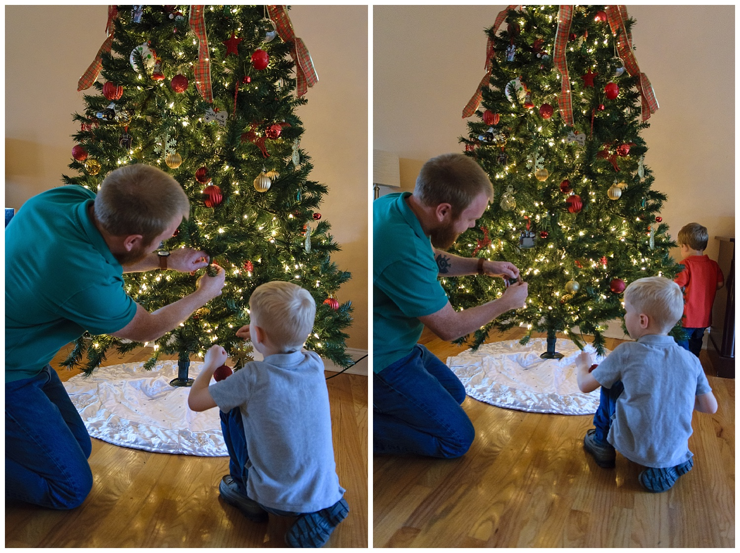 these are images of a dad showing his son ornaments on the family's christmas tree. the images were taken indoors during a lifestyle family session.