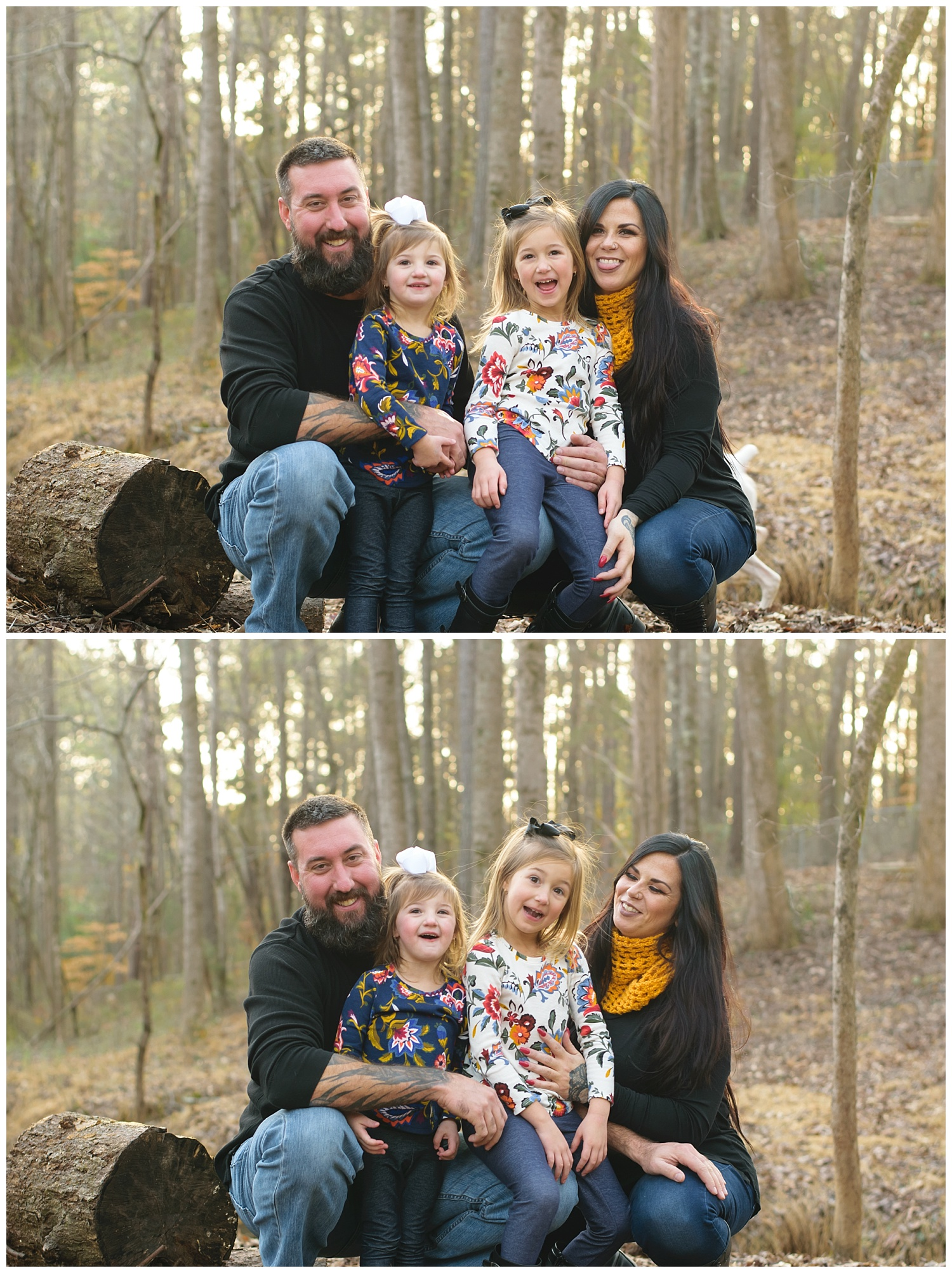 these are images of a family during a lifestyle family session. they were taken in the family's backyard and everyone is smiling.
