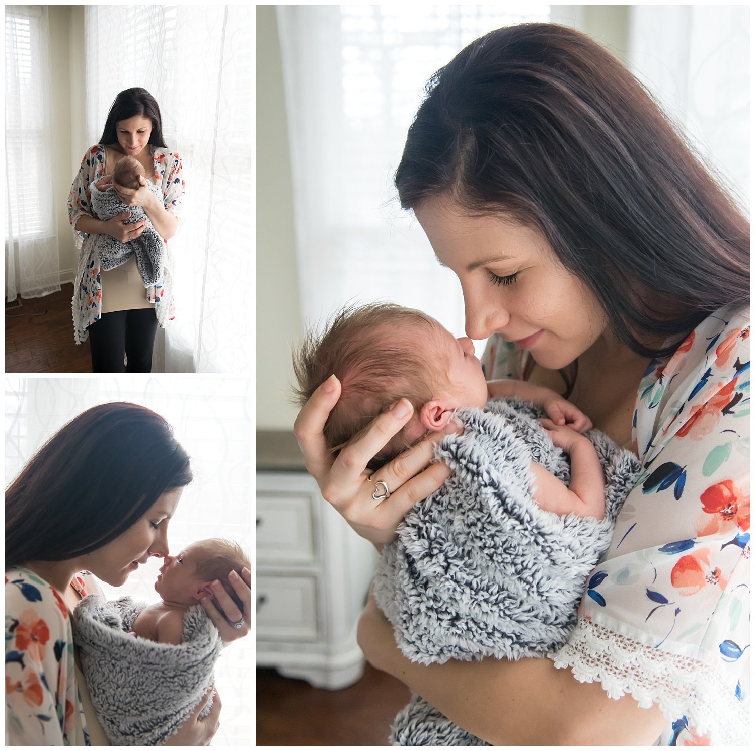 these are images taken during an in home lifestyle newborn family session. mom is holding the newborn baby girl next to the window and giving her kisses.