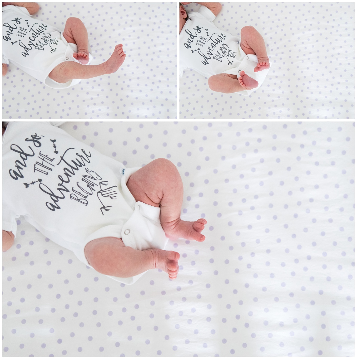 these are overhead images of a newborn baby girl laying in her crib. the focus is on the newborn baby girls' legs and feet. the images were taken during an in home lifestyle newborn session.