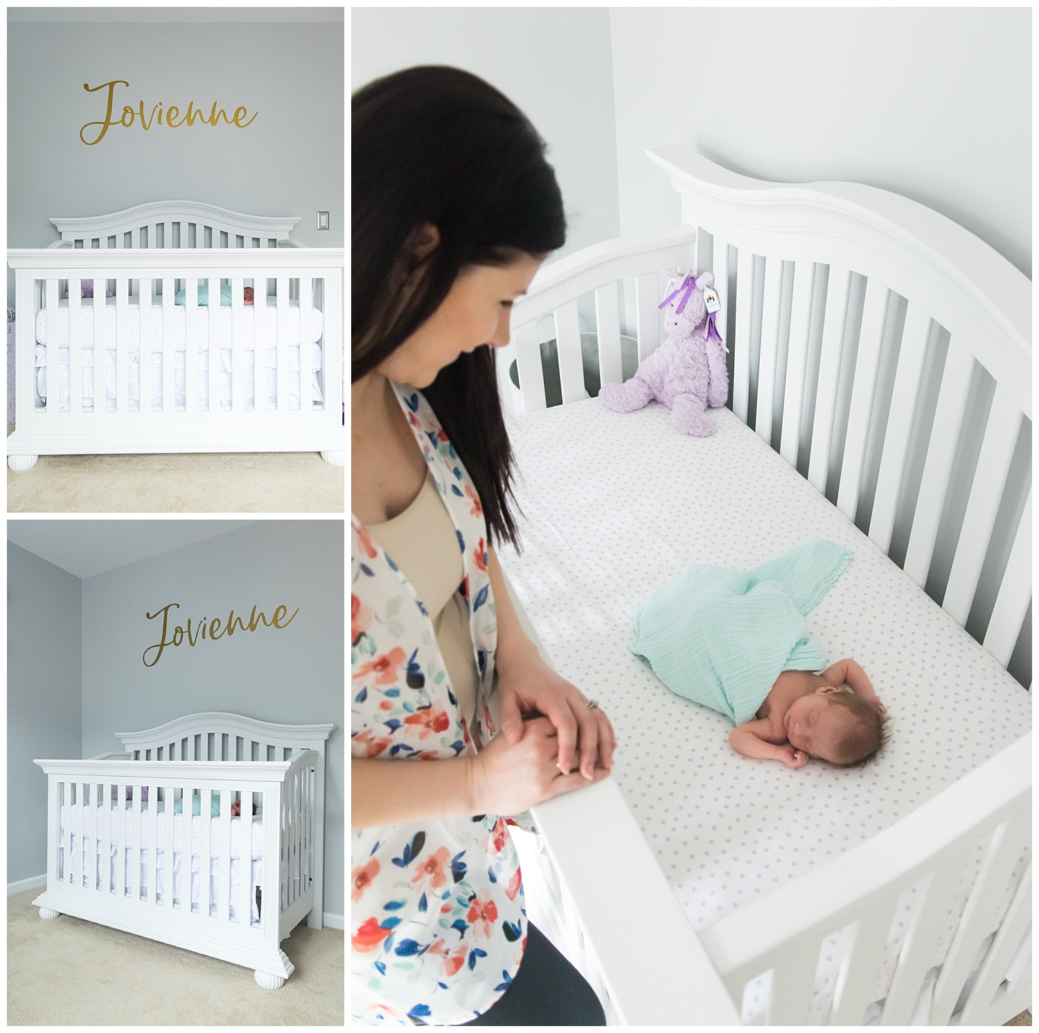 this is an image taken during an in home lifestyle newborn session. the newborn baby girl is sleeping in her crib and mom is looking at the baby and smiling.