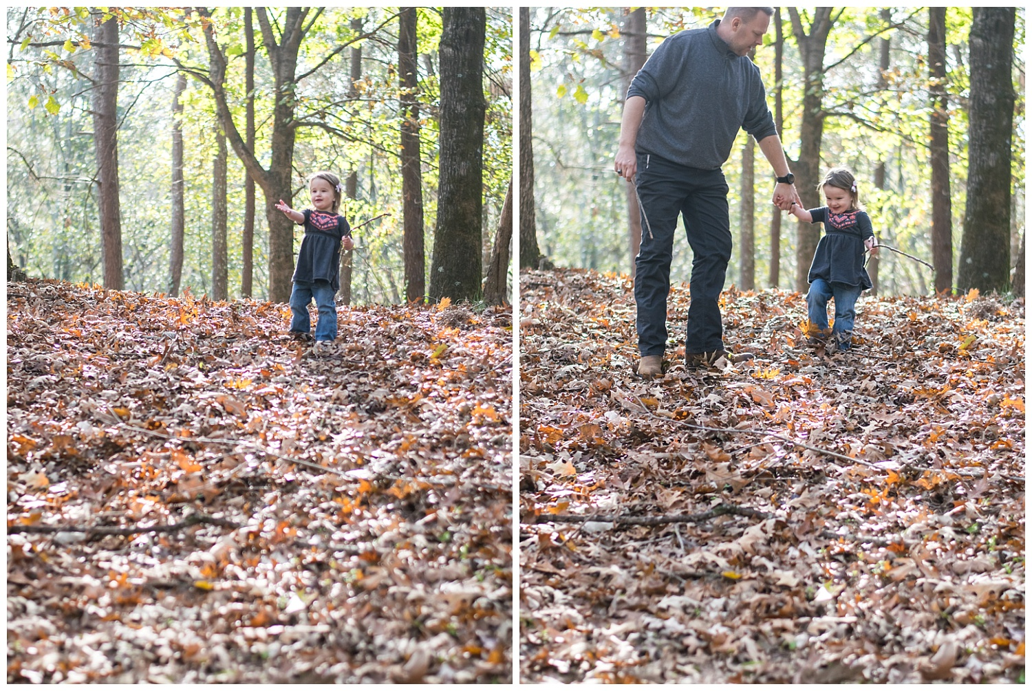 these are side by side images of a young girl reaching out her hand to ask for help walking down a hill of leaves. the images were taken during a lifestyle family session in decatur georgia