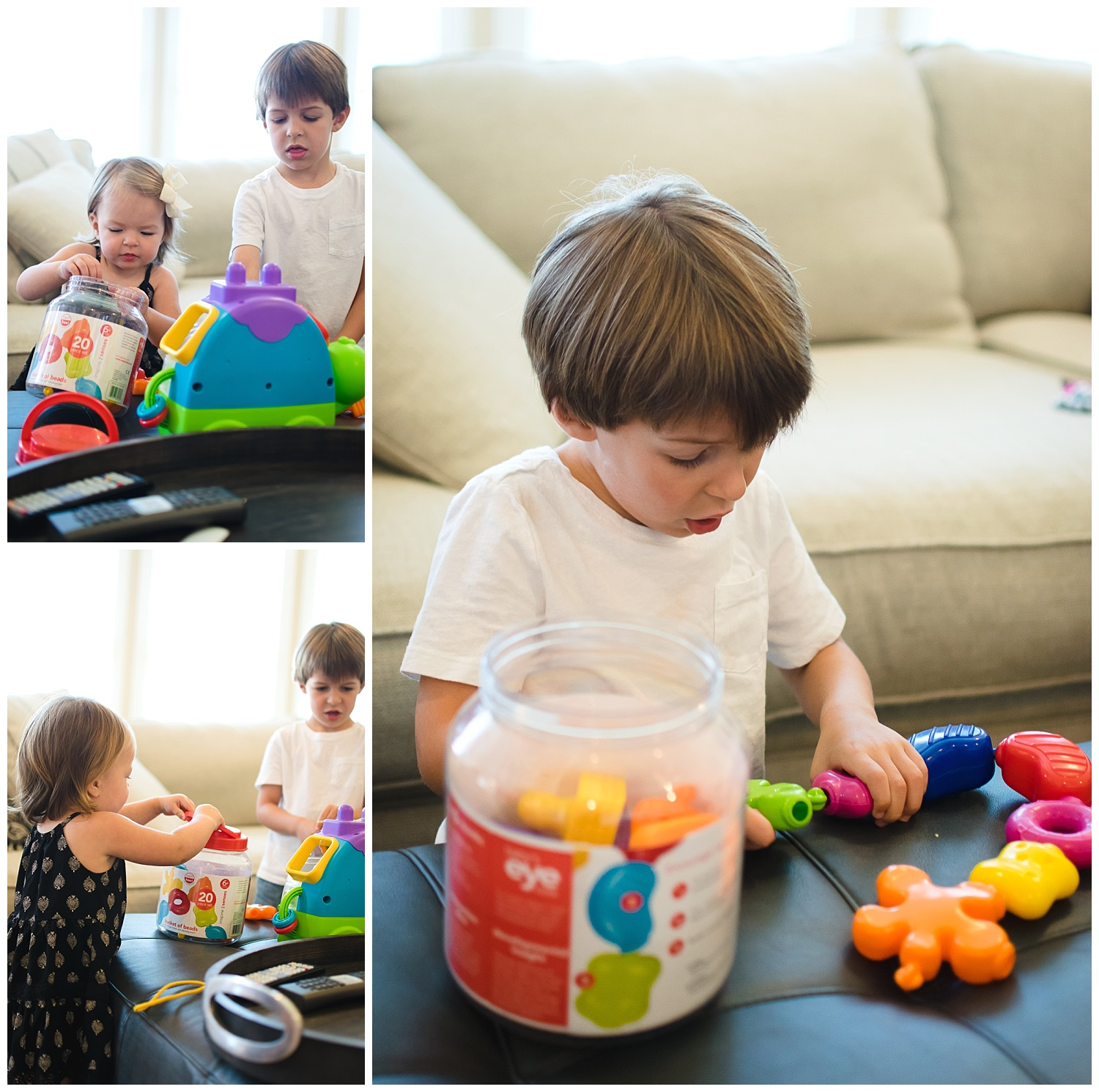 this is an image of a young boy and girl playing with toys during an in home documentary lifestyle sunday funday family session in decatur georgia