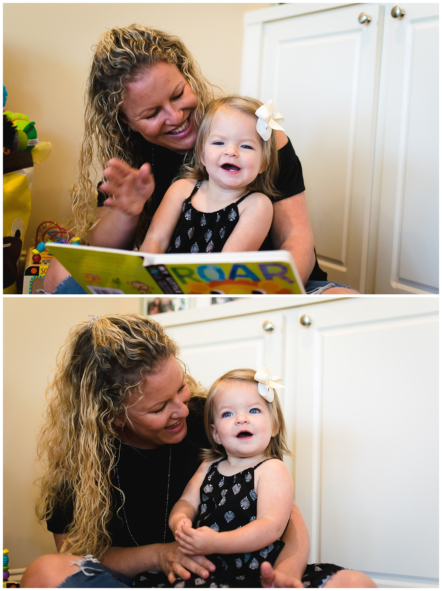 these are images of a mother reading a book to her young daughter during an in home documentary lifestyle family session in decatur georgia