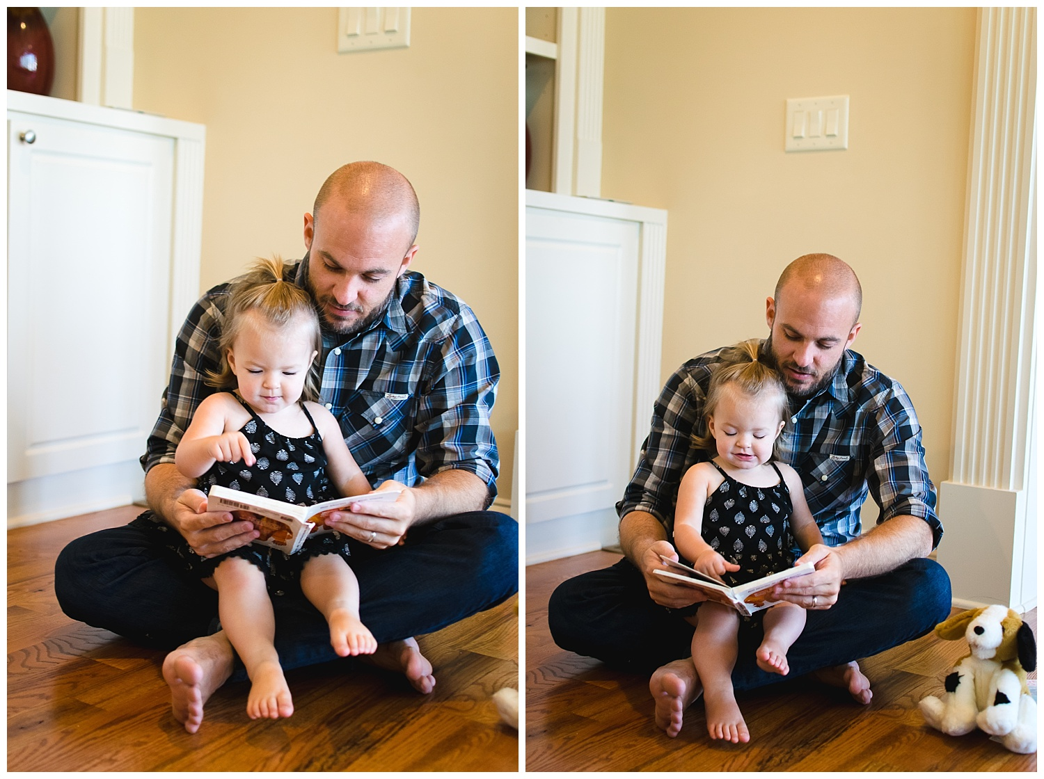 these are images of a father reading a book with his young daughter during an in home lifestyle family session.