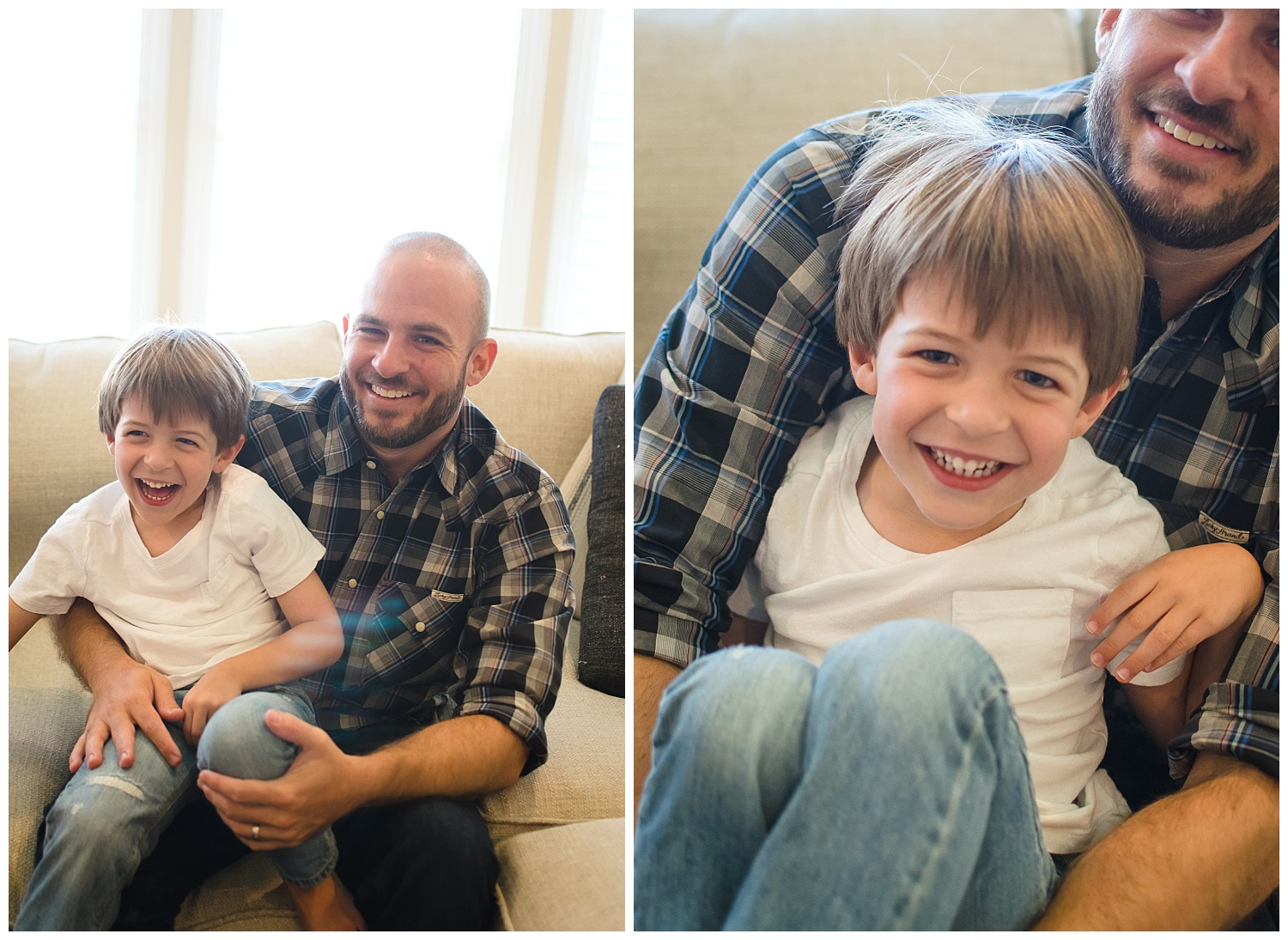 these are images of a young boy sitting on his father's lap during an in home lifestyle sunday funday family session in decatur georgia