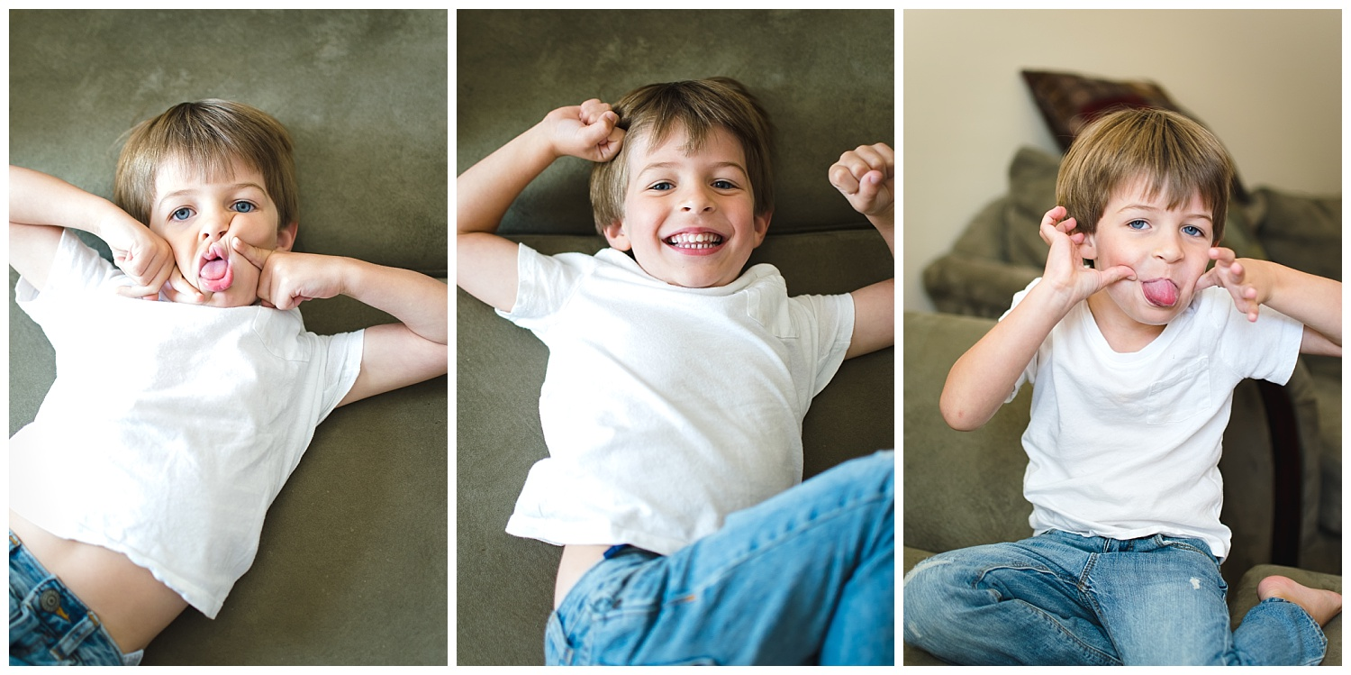 these are side by side images of a young boy making silly faces and looking at the camera. these were taken during an in home documentary lifestyle family session in decatur georgia