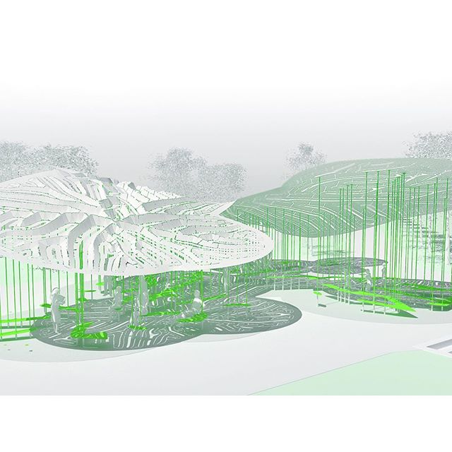 #WIP ___ the dimensional skin peels up to embrace park visitors 🐛  in this scheme, benches are suspended from the columns to populate a social space under the canopy 🌴 a #new #project for #bellevue #downtown #park . . . #inprogress #developing #proposal #concept #render #rendering #computational #design #digital #fabrication #fornesstripes #fornessegmentation #labyrinth #labyrinthine #leafy #structure #architecture #architectural #design #pavilion #comingsoon #bellevuewa #marcfornes #theverymany