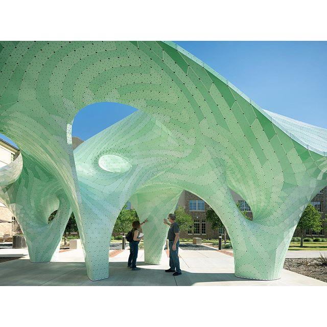 Looped Column... . . . . #ZEPHYR #texastech #texastechuniversity #lubbock #bestoflubbock #campusart #robertbruno #artpublic #publicart #placemaking #colorinarchitecture #zebra #cheshire #arch #architecture #texasarchitecture #architecturalfolly #pavilion #cantilever #aluminum #shellstructure #stripes #structuralstripes #thestructureisinthegeometry #marcfornes #theverymany 📷 @studio_naaro